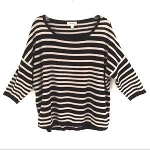 Dress Barn striped 3/4 sleeve sweater with zippers